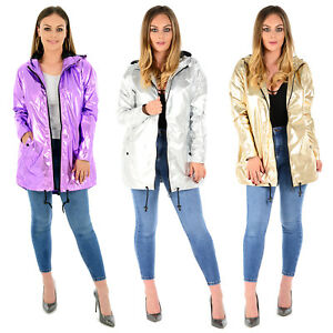 complete in specifications best selling 50% off Details about LADIES WOMENS METALLIC RAIN MAC WATERPROOF RAIN COAT HOODED  FESTIVAL JACKET TOP