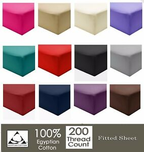 Luxury-100-Cotton-Fitted-Bedding-Sheets-200TC-Single-Double-King-amp-Super-King