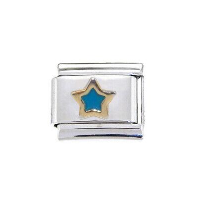 Carta azul S en oro encanto italiano-se adapta a 9mm clásico italiano pulseras