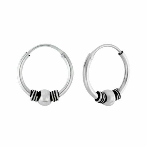 925 Sterling Silver 12mm Bali Hoop Sleeper Earrings Sleepers