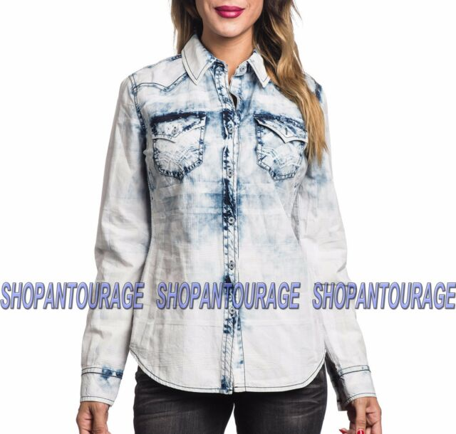 Affliction Waterfall 111WV141 Women`s New White Long Sleeve Button-Down Shirt