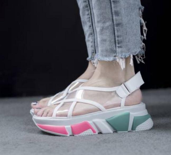 Womens Transparent Platform Wedge Heels Stripe Pattern Casual Flat Roman shoes