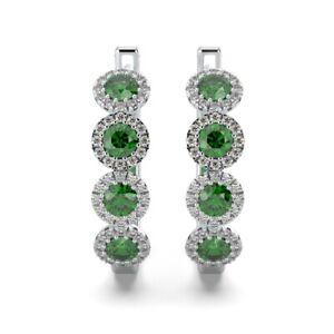 100% Natural Diamond cut Green Emerald & Diamond Halo Hoop Earrings  White Gold
