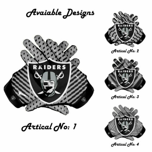 Oakland Raiders American NFL Football Gloves Dotted Style