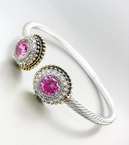 Cable De Plata Magnífico balinesa Oro Circonita Puntos Color Rosa Cristal Brazalete Pulsera 198G