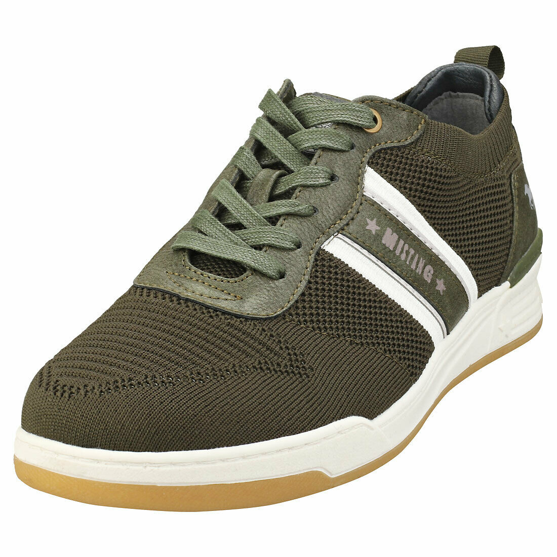 Mustang Low Top Sneaker Mens Olive Synthetic & Textile Casual Trainers