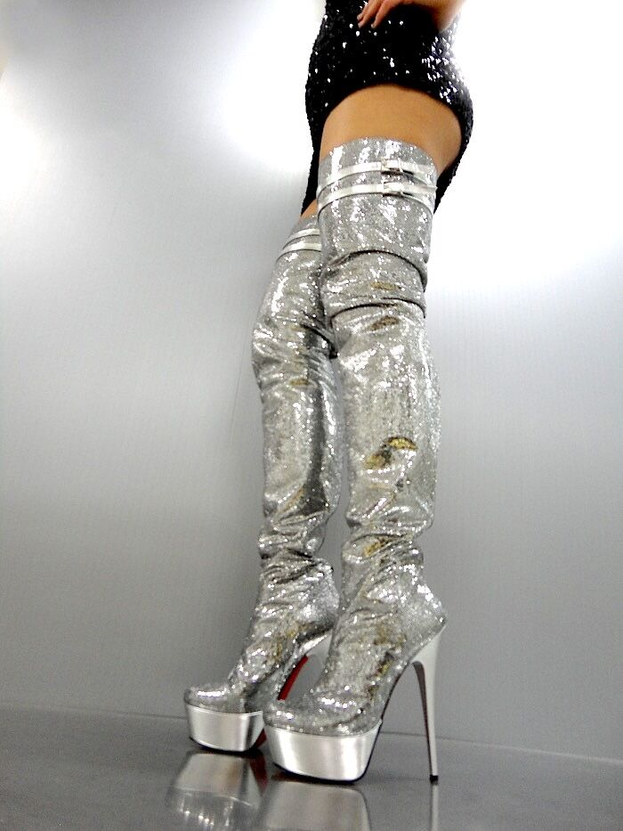 MORI ITALY LUXURY OVERKNEE PLATFORM SEXY BOOTS STIEFEL STIVALI LEATHER SILVER 40