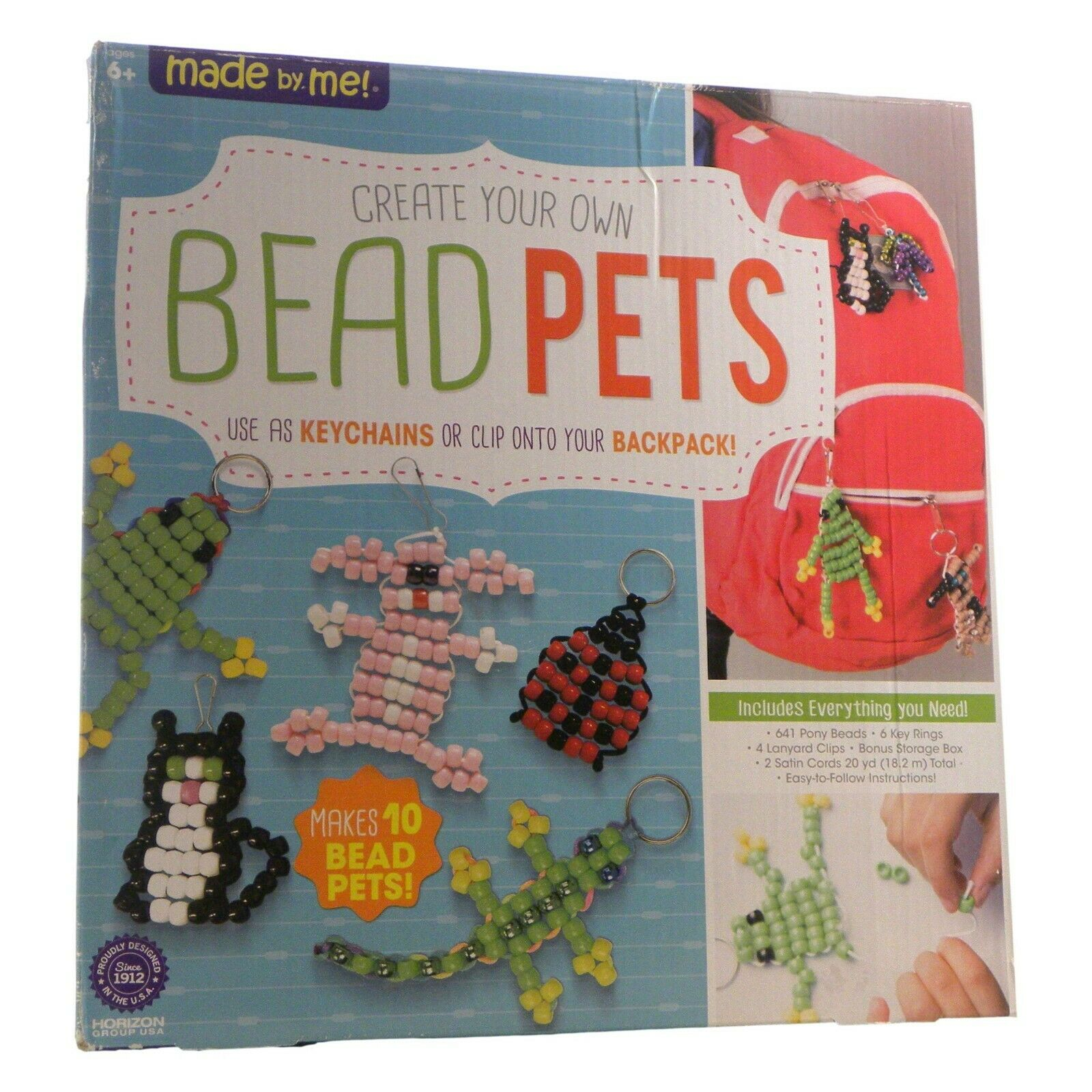 Includes Over 600 Pony Beads 6 Key Rings Storage Box /& Much More Made By Me Create Your Own Bead Pets by Horizon Group USA