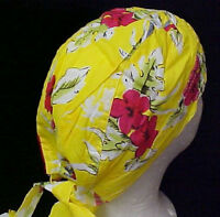 Chemo Cancer Head Cover Hat Cap Durag Yellow Print One Size Fits Most Cotton