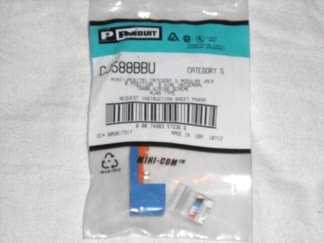 Swell Panduit Cj588Bbu Cat 5 Mini Com Cat5 Wall Jack Blue Rj45 Module Made Wiring 101 Relewellnesstrialsorg