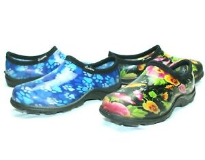 Lot-of-2-Womens-sloggers-garden-shoes-Waterproof-Floral-Paws-Blue-size-6
