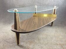 Vintage Signed Lane Kidney Shaped Glass Top Coffee Table Mid Century - Mid century modern kidney shaped coffee table