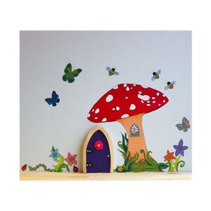 Irish fairy door garden toadstool wall decal reusable for Fairy door for wall