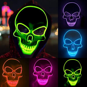 Halloween Scary LED Mask Cosplay Wire Led Light Up Costume ...
