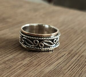 Solid-925-Sterling-Silver-Spinner-Ring-Meditation-Ring-Statement-Ring-Size-ss01