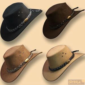 oZtrALa-AUSTRALIAN-Outback-Suede-LEATHER-Hat-Cowboy-Mens-Womens-Childrens-Kids
