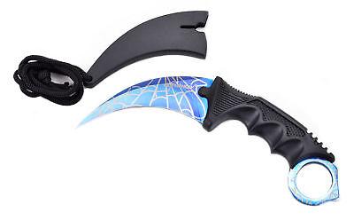 Creativo Elfmonkey ® Karambit Coltelli Coltello Da Caccia Coltellino Csgo Knife Blue Spider-