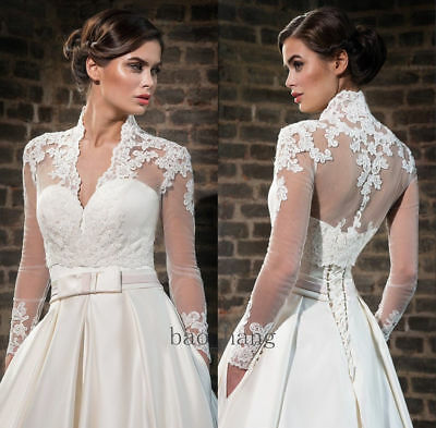 Vintage Long Sleeves V Neck A Line Wedding Dresses white Ivory Satin Bridal Gown