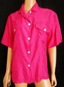 Henry-Cottons-CAMICIA-Shirt-TG-M-L-stimata-in-Pura-SETA-Silk-100-Colore-fucsia