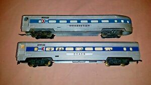 HO-Scale-Vintage-TYCO-Amtrak-Passenger-Cars-Coach-and-Observation