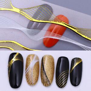Gold-Weiss-Metall-3D-Nagel-Aufkleber-Linien-Welle-Streifen-Nail-Art-Manikuere-DIY