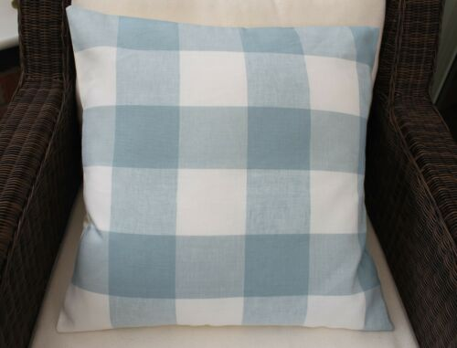 LAURA ASHLEY DESIGNER BLUE WHITBY CHECK CUSHION COVER VARIOUS SIZES