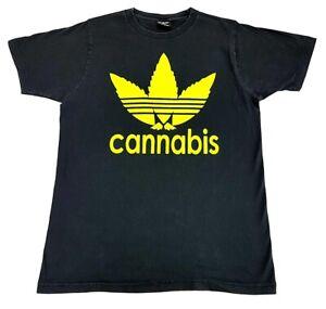 Vintage-Cannabis-Leaf-A-D-I-D-A-S-Logo-Tee-Black-Size-XL-Mens-T-Shirt