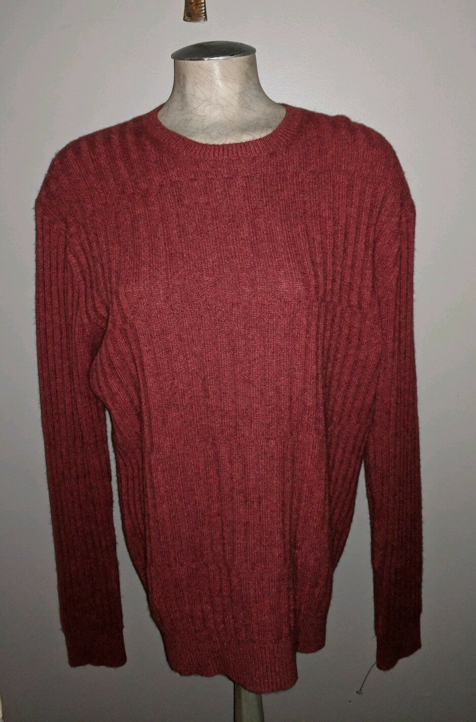 NEIMAN MARCUS CINNABAR CASHMERE WOOL BLEND RIBBED PULL OVER MENS SWEATER L