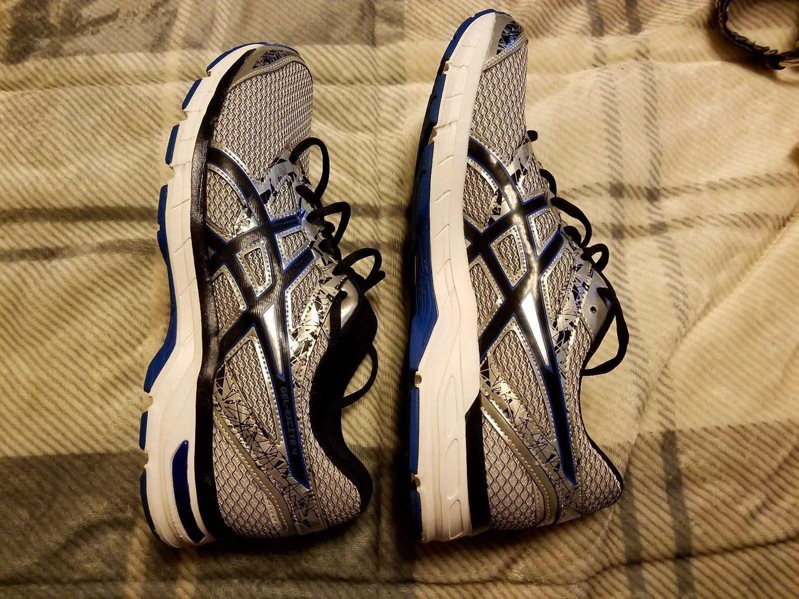 Asics Gel-Excite 4 Men Black US 10 1/2 Silver/Blue & Black Men Sneakers 3c3f10
