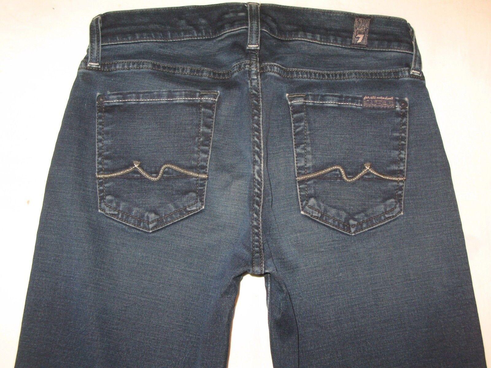 7 for all Mankind Womens Bootcut Jeans Sz 26 w Gummy Stretchy Denim Dark bluee