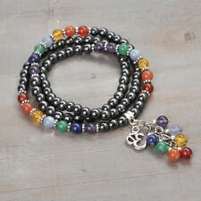 Wrap 7 Chakra Stretch Bracelet, OM (OHM) Charm, Dangle, Gemstone, Rainbow, Reiki