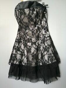 vetement-38-femme-fille-ado-robe-sans-manches-effet-satin-double-dentelle-noir