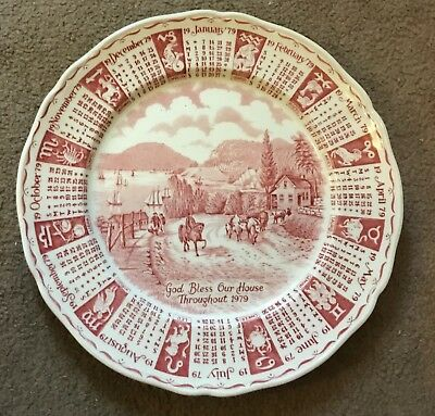 Conscientious Alfred Meakin Staffordshire Calendar Plate 1979 Pottery