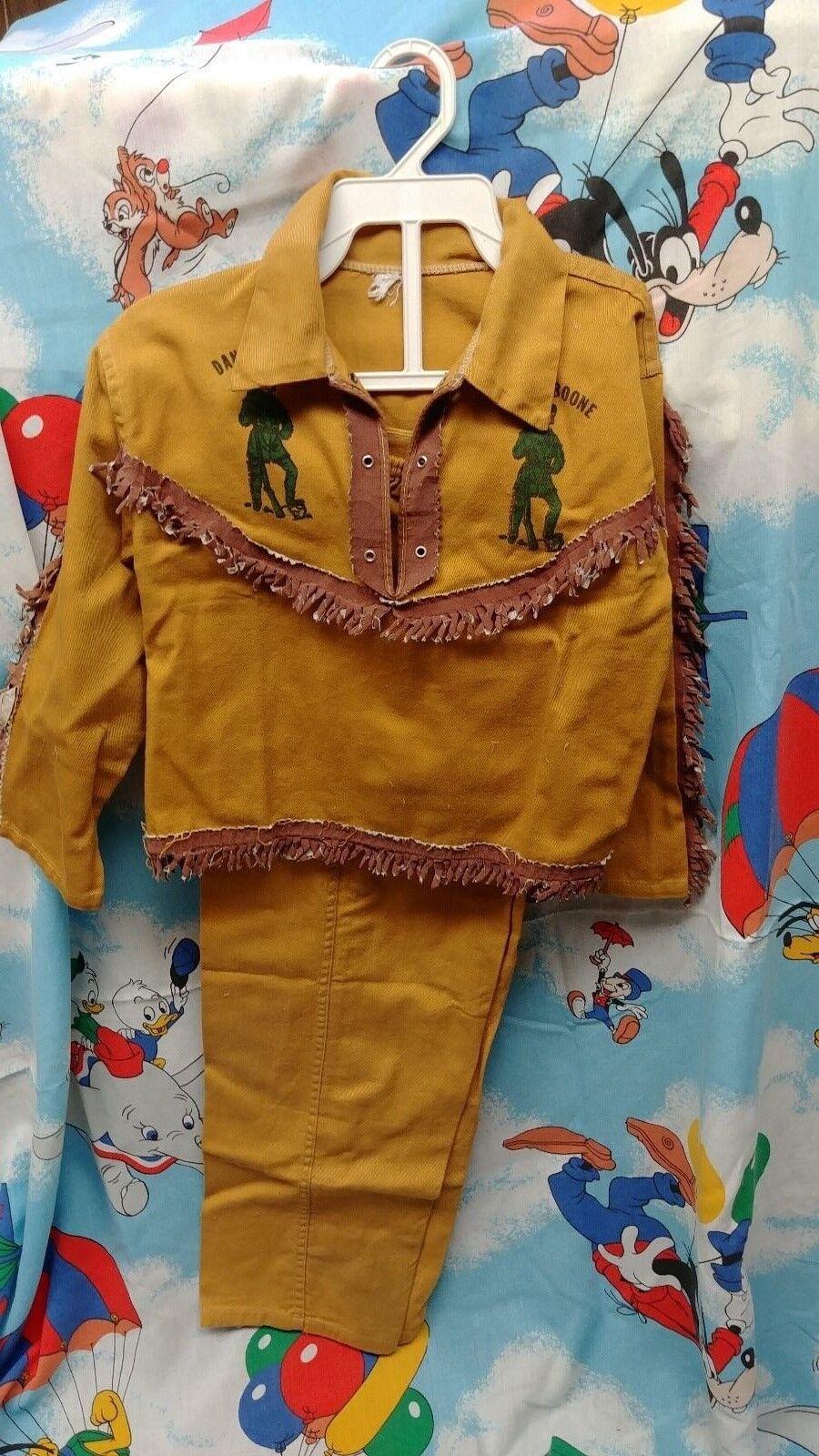 Década de 1950 Daniel Boone Original Vintage Con Flecos Camisa Y Pantalón Muy Raro