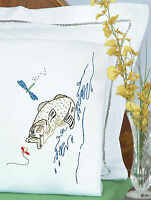 Jack Dempsey NOM051539 Stamped Pillowcases With White Perle Edge 2 Per Pack Fish