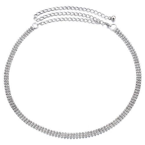 Damen Kette Silber Gürtel mit Strass Abstand Apart in einer Größe