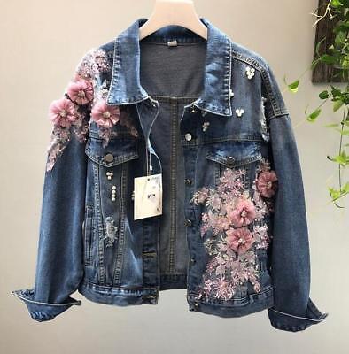 2019 Womens girls 3D flower denim jacket pearl flower denim jeans jacket coat