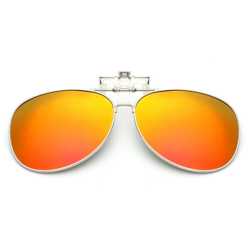 Clip-On Flip up Sunglasses Polarized Mirrored Lenses Classic Aviator Eyewear