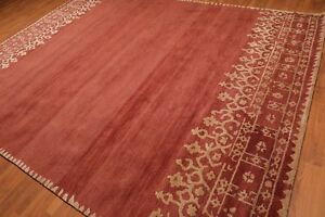 Old-Hand-Made-Rust-amp-Beige-Contemporary-Style-Persian-Oriental-Wool-Area-Rug