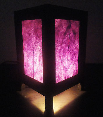 Asian Oriental Art Natural Purple Leaves Bedside Table Lamp Wood Shades Lights