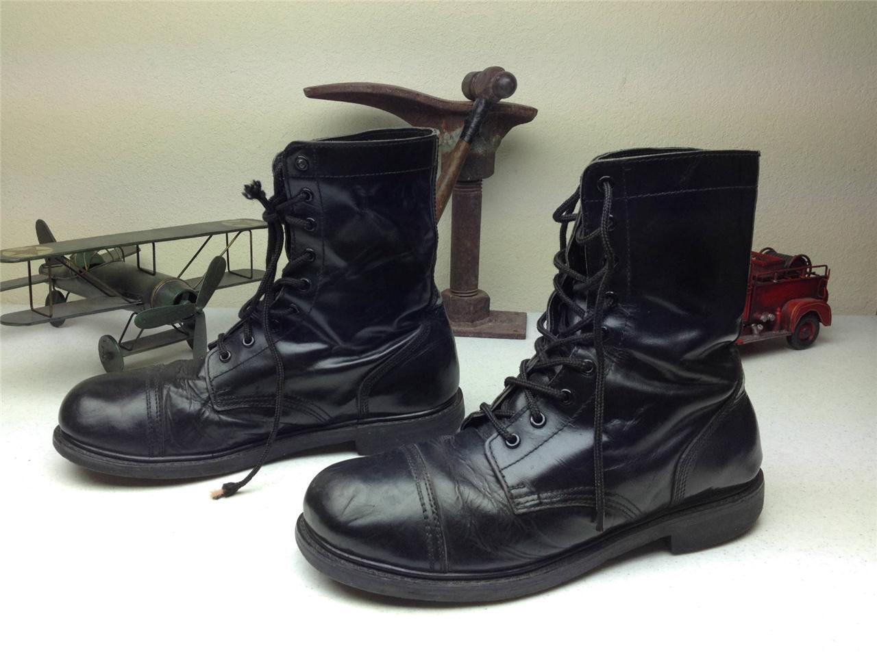 Negro con aspecto envejecido de combate militar paratroper lazada campo botas M