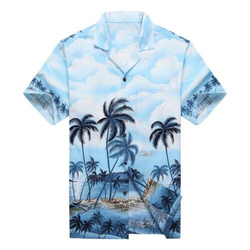 Details about  /Made Hawaii Couple Matching Luau Aloha Shirt Tank Dress Palm Border Blue