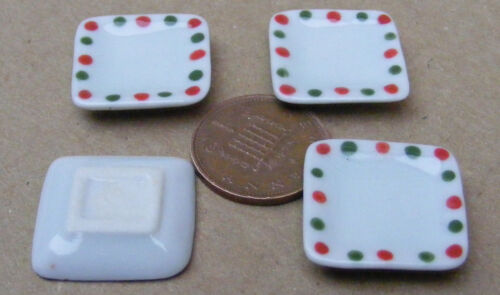 1:12 Scale 4 White Square Spotted Ceramic Plates Tumdee  Dolls House Miniature