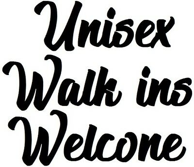 unisex hair salon walk ins welcome shop window door sign vinyl graphic sticker