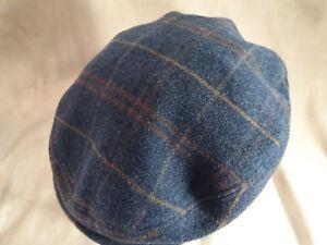 f24d1f8d95d Country Gentleman Dark Grey   Brown Plaid Newsboy Hat Cap Sz L Made ...