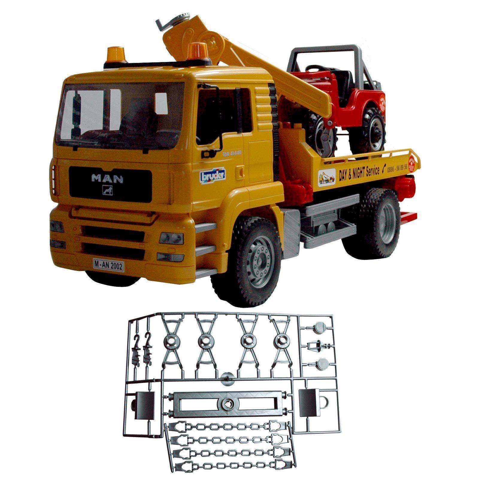 Bruder MAN TGA Abschlepp-LKW mit Geländewagen  | Ausgezeichnetes Preis
