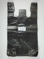 1000 Qty. Black Plastic T-shirt Retail Shopping Bags W/ Handles 11.5 X 6x 21
