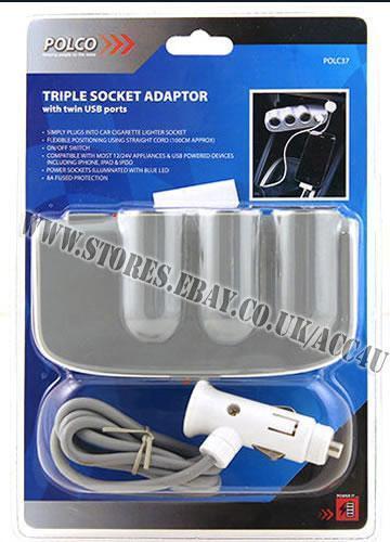 12v 24v 3 vías Car Camión de encendedor de Cigarrillos Enchufe USB Cargador Adaptador PLC37 de múltiples