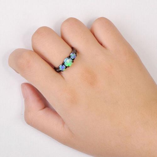 Fashion Round Rainbow Faux Fire Opal Crystal Black Ring Women Ladies Jewelry YW