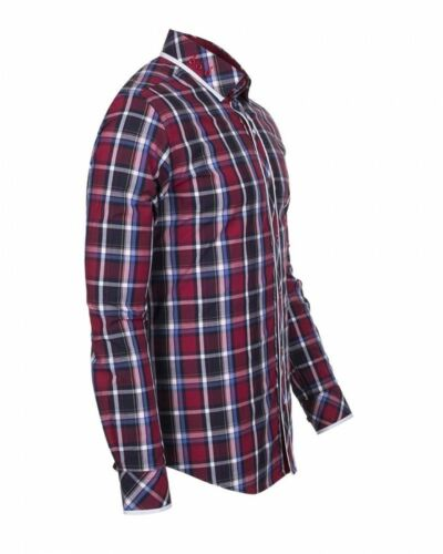 Men Makrom Turkey Soft Cotton Shirt 5403-03 English Plaid Wine Blue Slim Fit New